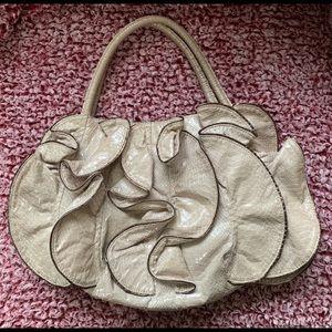 SQUARED by sondra Roberts snakeskin ruffle purse